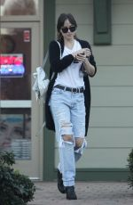 DAKOTA JOHNSON in Ripped Jeans Out in Los Angeles 02/11/2019