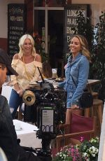 DENISE VAN OUTEN and LYDIA BRIGHT on the Set of Matalan Commerical in Mallorca 01/31/2019