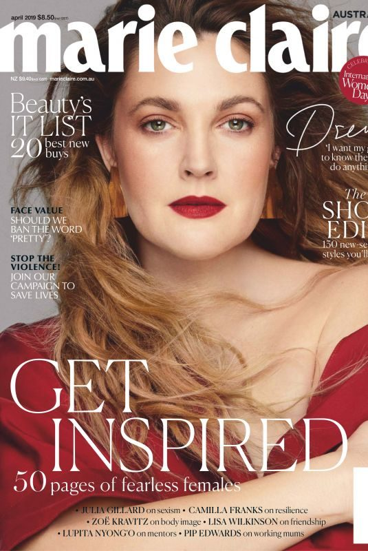DREW BARRYMORE in Marie Claire Magazine, Australia April 2019