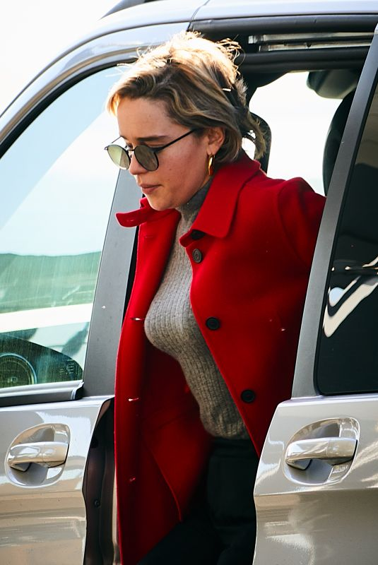 EMILIA CLARKE at Heathrow Airport in London 02/21/2019