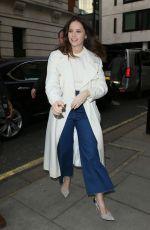 FELICITY JONES Arrives at BBC Radio 2 in London 02/13/2019