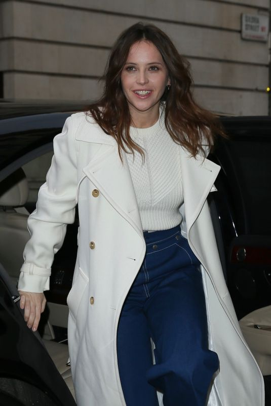 FELICITY JONES Arrives at BBC Radio 2 in London 02/13/2019