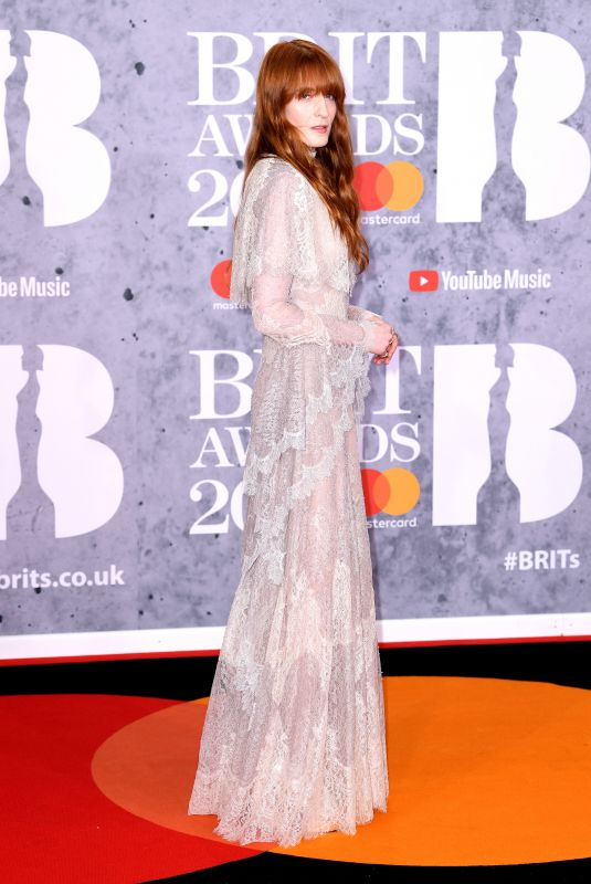 FLORENCE WELCH at Brit Awards 2019 in London 02/20/2019
