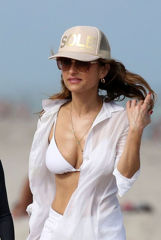 GIADA DE LAURENTIIS in a White Bikini Top at a Beach in Miami 02/22/2019