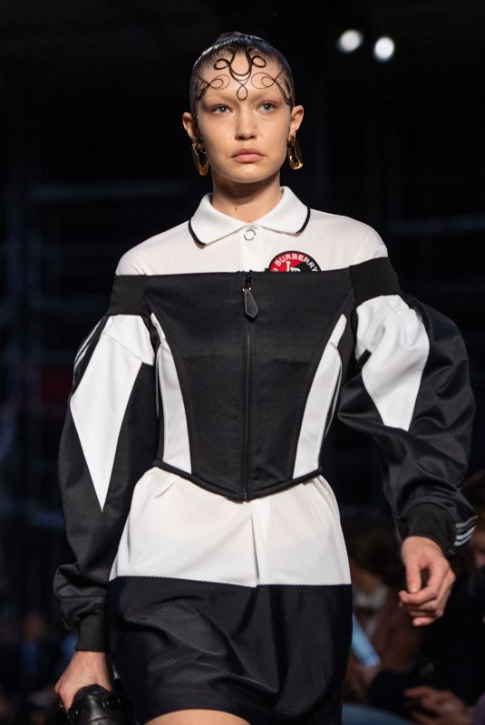 GIGI HADID at Buryberry Catwalk Show at London Fashion Week 02/17/2019