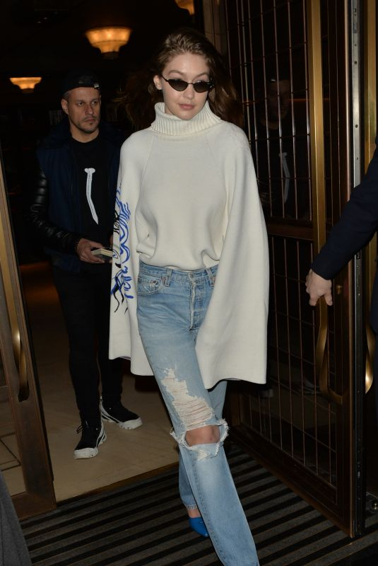 GIGI HADID in Ripped Denim Out in London 02/16/2019