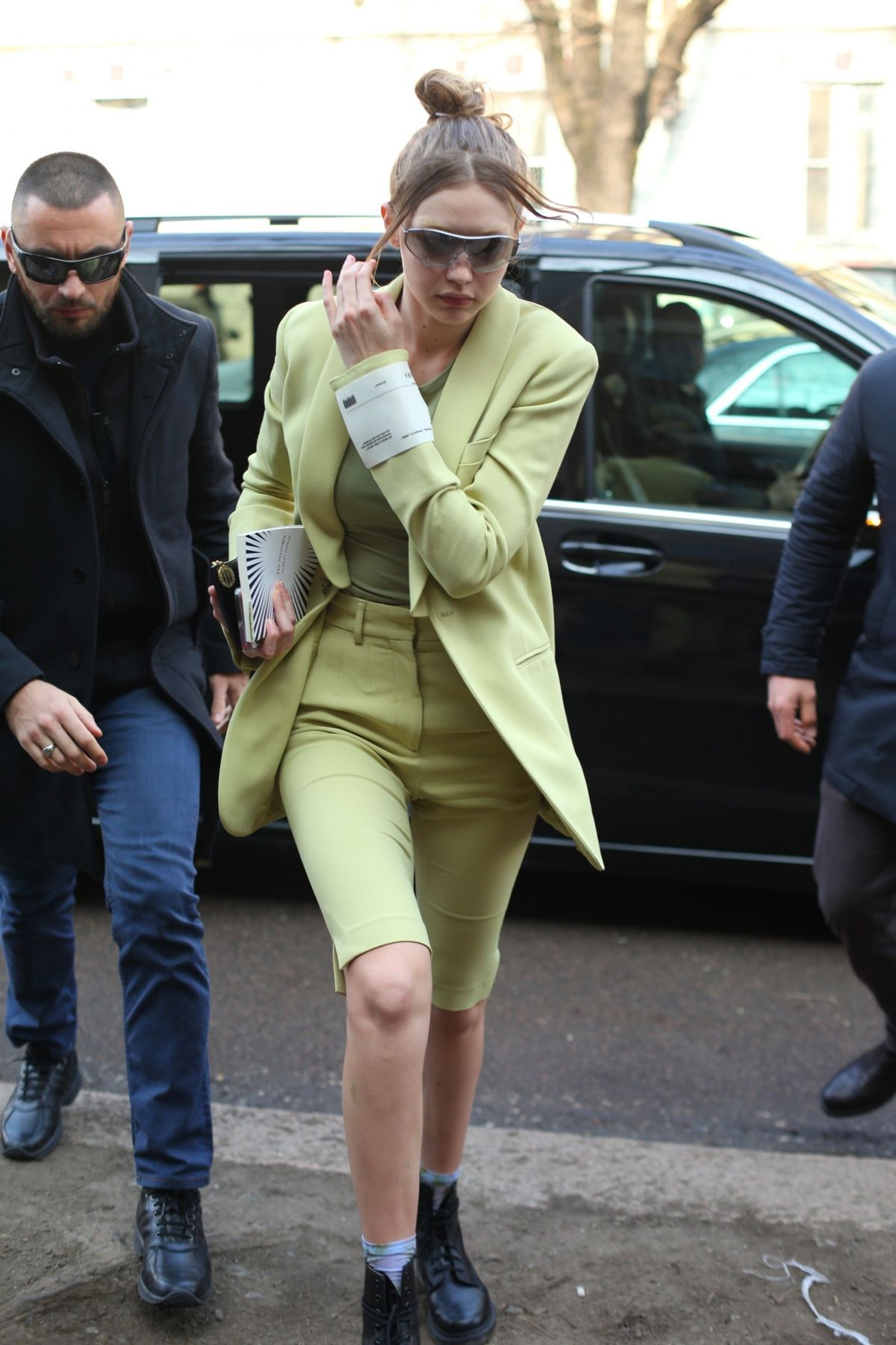 GIGI HADID Out and About in Milan 02/21/2019
