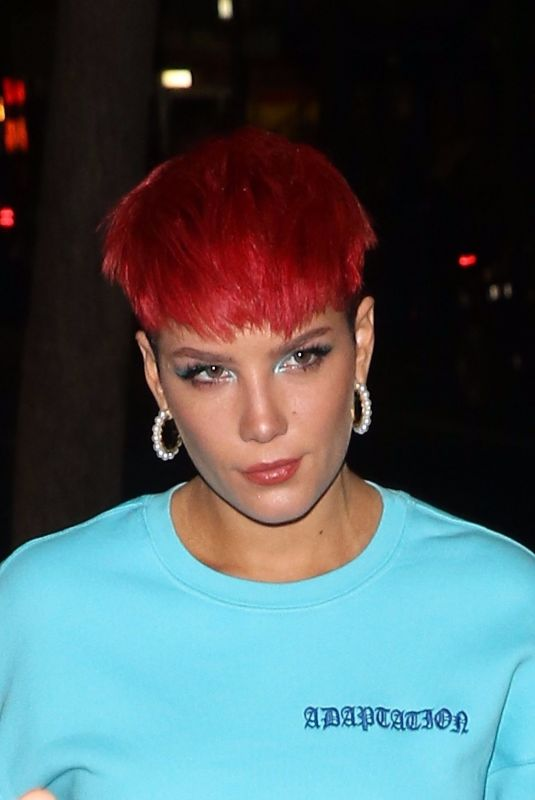 HALSEY Shows off Red Hairdo at SNL Cast Dinner in New York 02/05/2019