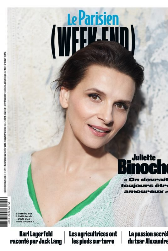 JULIETTE BINOCHE in Le Parisien Magazine, February 2019