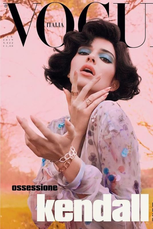 KENDALL JENNER on the Cover of Vogue Magazine, Italy February 2019