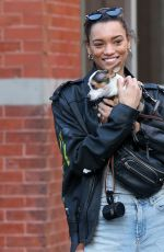 LAMEKA FOX Out with Her Dog at New York Fashion Week 02/04/2019