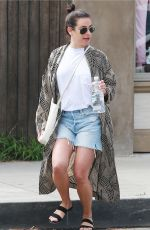 LEA MICHELE in Denim Skirt Out in Los Angeles 02/22/2019