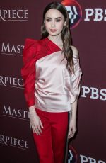 LILY COLLINS at Pbs Masterpiece Panel at 2019 Winter TCA Tour in Pasadena 02/01/2019