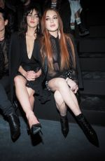 LINDSAY and ALIANA LOHAN at Saint Laurent Fashion Show in Paris 02/26/2019