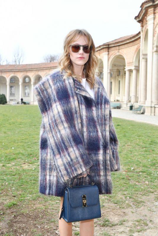 MAIKA MONROE at Salvatore Ferragamo Fashion Show at MFW in Milan 02/23/2019