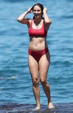 Pregnant LAURA BYRNE in Red Bikini at Bondi Beach in Sydney 02/04/2019