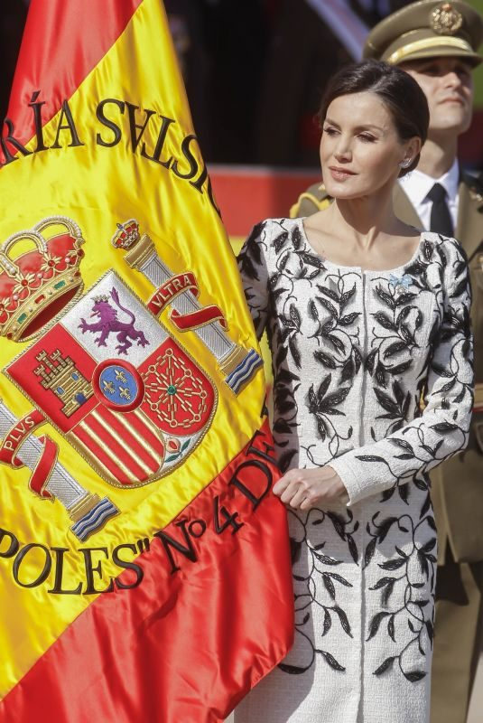 QUEEN LETIZIA OF SPAIN at Delivery of National Flag to Napoles Infantry Regiment 4 in Madrid 02/23/2019