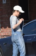 RACHEL MCADAMS in Denim Overalls Out Shopping in Los Angeles 02/26/2019