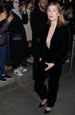 ROSAMUND PIKE Arrives at Giorgio Armani Fashion Show in Milan 02/23/2019