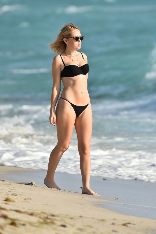 TANY BURR in a Black Bikini at a Beach in Miami 02/02/2019