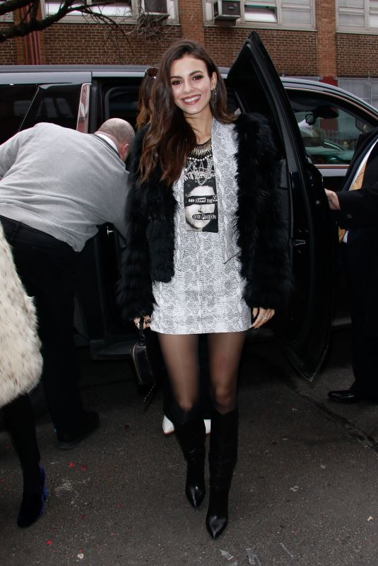 VICTORIA JUSTICE Arrives at Alice + Olivia Fashion Show at NYFW in New York 02/11/2019