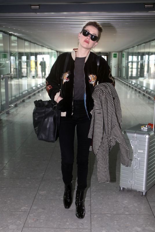 AMBER HEARD at Heathrow Airport in London 03/08/2019