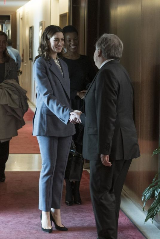 ANNE HATHAWAY Meets United Nations Secretary General in New York 03/12/2019