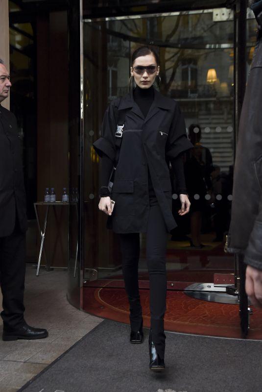 BELLA HADID Leaves Her Hotel in Paris 03/01/2019