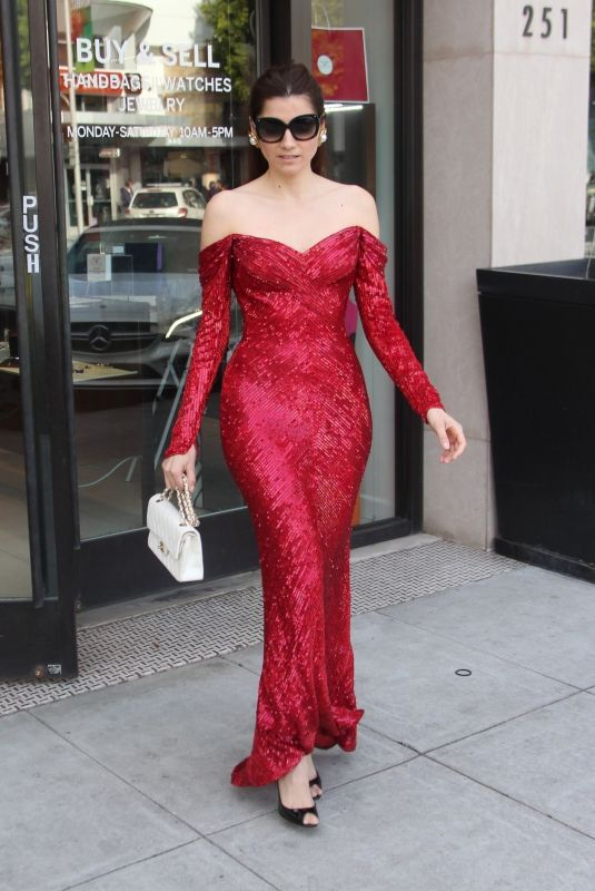 BLANCA BLANCO in a Red Dress Out Shopping in Beverly Hills 03/30/2019