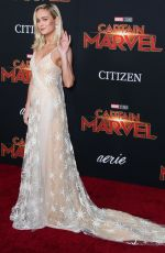 BRIE LARSON at Captain Marvel Premiere in Hollywood 03/04/2019