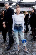 CAROLINE RECEVEUR Arrives at Balmain Fashion Show at PFW in Paris 03/01/2019