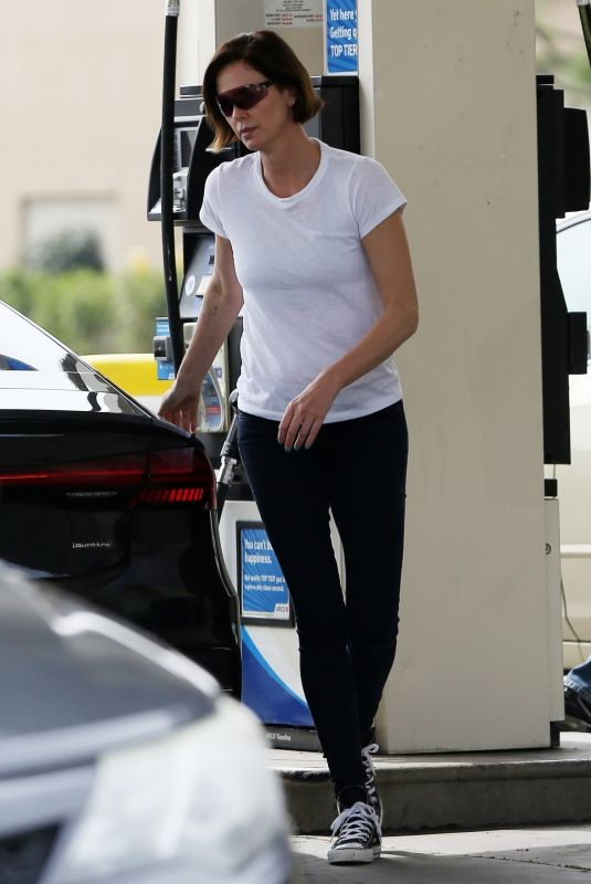 CHARLIZE THERON at a Gas Station in Los Angeles 03/19/2019