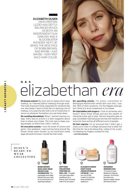 ELIZABETH OLSEN in Allure Magazine, April 2019