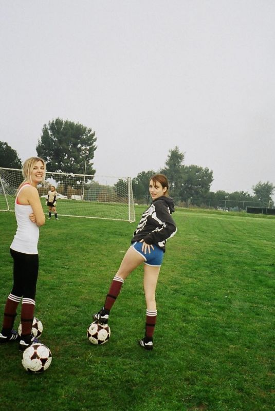 EMMA ROBERTS in Shorts Playing Soccer - Instagram Picture