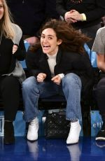 EMMY ROSSUM at LA Lakers vs Knicks Game in New York 03/17/2019