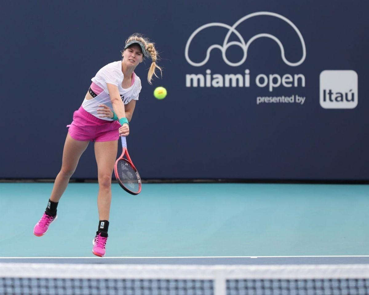 eugenie bouchard practice at miami open tennis tournament