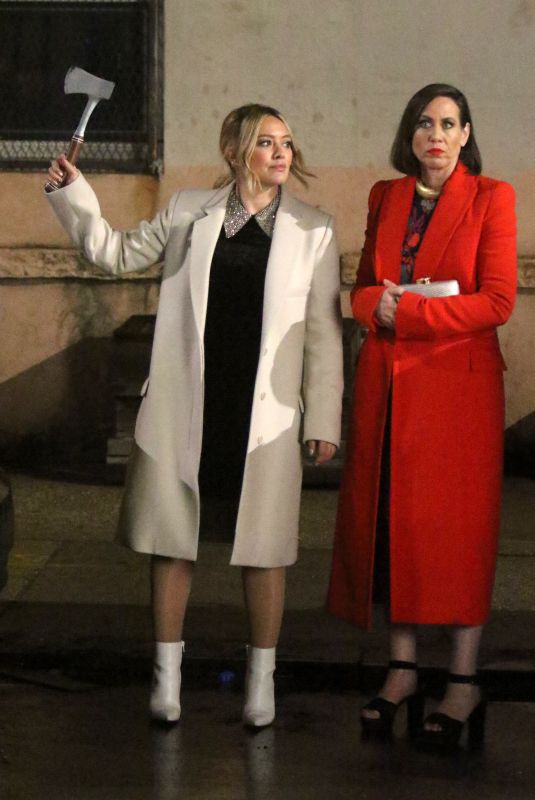 HILARY DUFF and MIRIAM SHOR on the Set of Younger in New York 03/25/2019