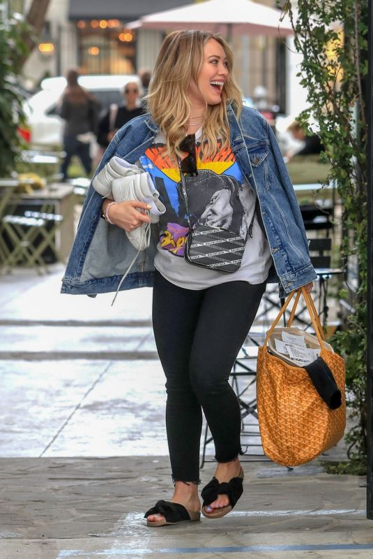 HILARY DUFF Leaves a Nail Salon in West Hollywood 03/21/2019