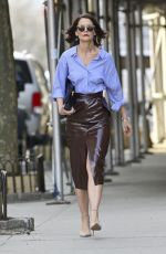 KATIE HOLMES in a Leather Skirt Out in New York 03/14/2019