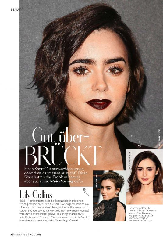 LILY COLLINS in Instyle Magazine, Germany April 2019