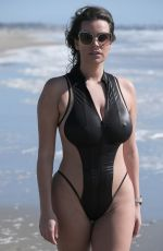 NADINE MIRADA in Swimsuit at Santa Monica Beach 03/09/2019