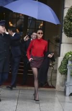 NINA DOBREV in Short Skirt Leaves Her Hotel in Paris 03/04/2019