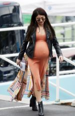 SARAH HYLAND with Prosthetic Baby Bump on the Set Modern Family, Season 10 in Los Angeles 03/05/2019