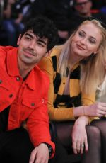 SOPHIE TURNER and Joe Jonas at Sacramento Kings vs New York Knicks Game in New York 03/09/2019