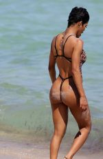 TEYANA TAYLOR in Swimsuit at a Beach in Miami 03/02/2019