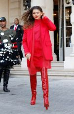ZENDAYA COLEMAN All in Red Out in Paris 02/28/2019