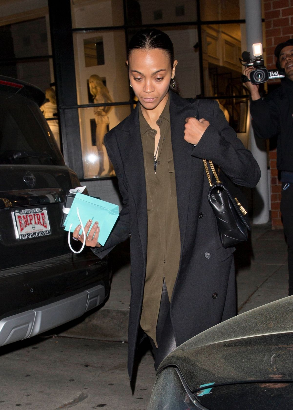 ZOE SALDANA Out for Dinner at Madeo in Beverly Hills 03/29 ...
