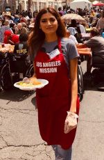 BLANCA BLANCO Serving Meal for Homeless in Los Angeles 04/19/2019
