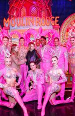 CARA DELEVINGNE and ASHLEY BENSON Poses with Moulin Rouge Dancers in Paris 04/09/2019