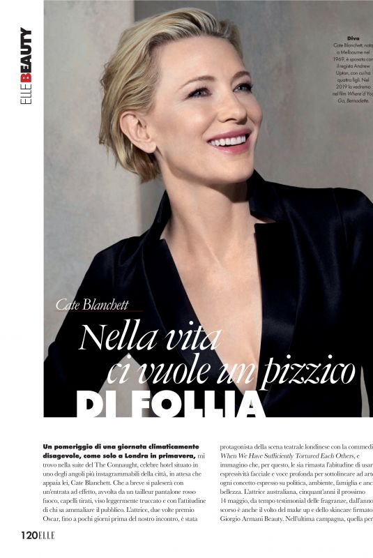 CATE BLANCHETT in Elle Magazine, Italy April 2019